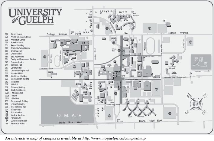 Map of the University of Guelph